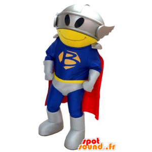 Superhero mascot, with a suit, a cape and a helmet