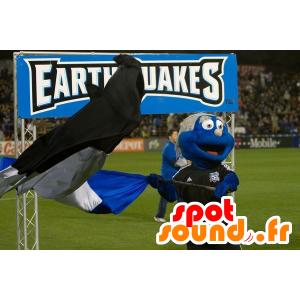 Niebieska maskotka bałwanek z uśmiechem stroju sportowego  - MASFR22241 - Niesklasyfikowane Maskotki