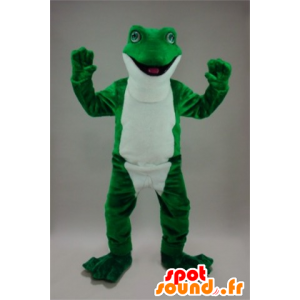 Mascot frog green and white, very realistic - MASFR22243 - Mascots frog