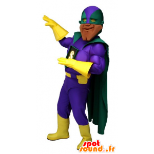 Very muscular superhero mascot, with a colorful outfit