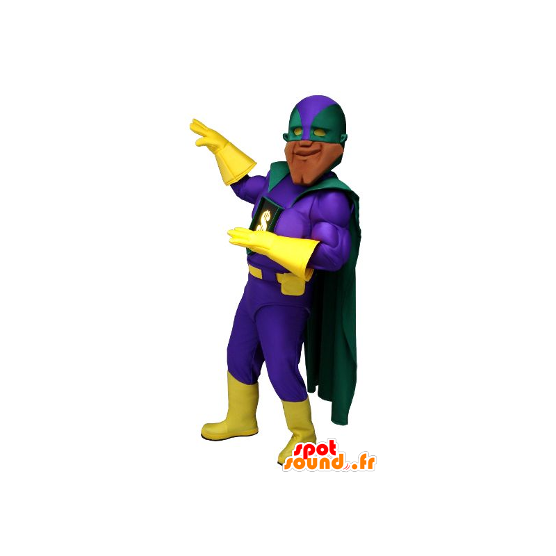 Very muscular superhero mascot, with a colorful outfit - MASFR22249 - Superhero mascot