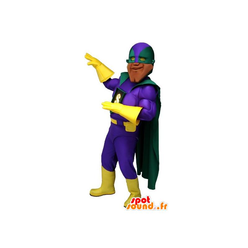 Zeer gespierde superheld mascotte, met een kleurrijke outfit - MASFR22249 - superheld mascotte