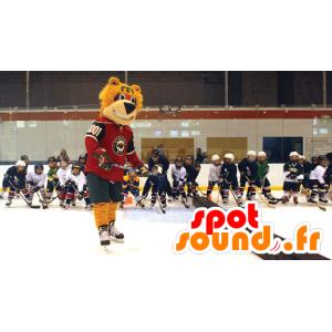 Orange bjørnemaskot i hockeyudstyr - Spotsound maskot kostume