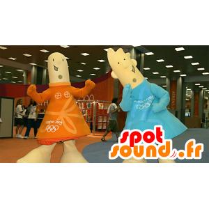 2 maskotki, dziewczynka i chłopiec w kolorze pomarańczowym i niebieskim stroju - MASFR22253 - maskotki dla dzieci