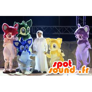 5 mascottes d'animaux fantastiques, rouge, vert bleu, jaune et violet