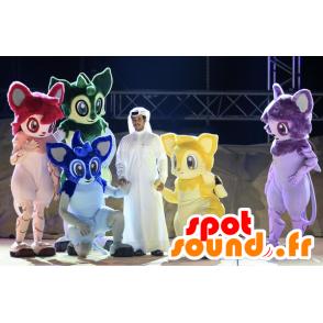 5 mascottes d'animaux fantastiques, rouge, vert bleu, jaune et violet - MASFR22257 - Mascottes animaux disparus