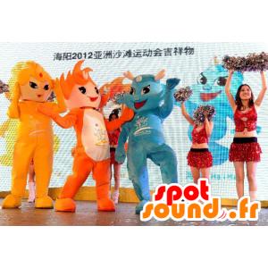 3 Maskottchen bunte Schneemänner, orange, gelb und blau - MASFR22258 - Menschliche Maskottchen