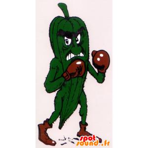 Grüne Gurke Maskottchen, ein heftiger, mit Boxhandschuhen - MASFR22260 - Maskottchen von Gemüse