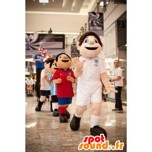 Mascot jongen met blauwe ogen, in sportkleding
