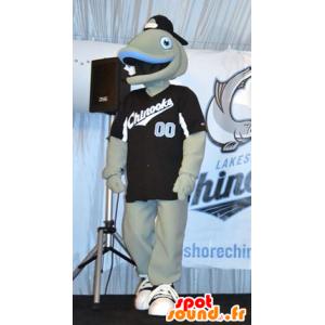 Mascot grå og blå fisk, veldig smilende