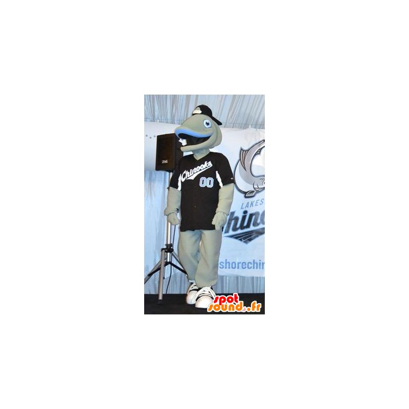 Mascot grauen und blauen Fisch, heiter - MASFR22264 - Maskottchen-Fisch