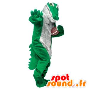 Verde mascotte e grigio coccodrillo, realistico - MASFR22265 - Mascotte di coccodrilli