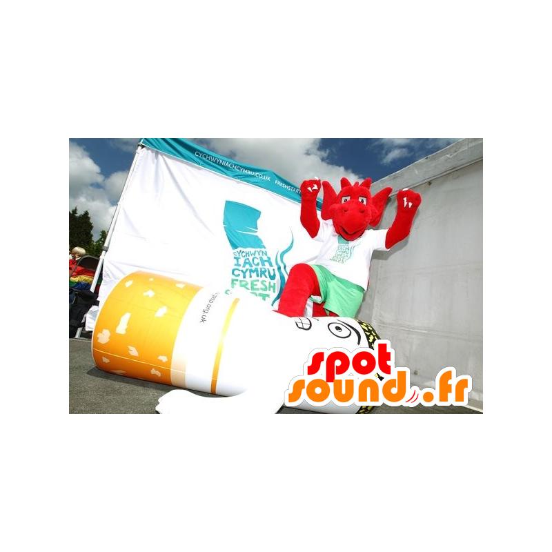 Mascotte de diablotin rouge avec des griffes - MASFR22269 - Mascottes animaux disparus