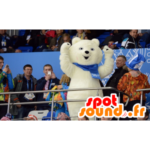 Mascot orso polare, orso polare, con una sciarpa - MASFR22279 - Mascotte orso