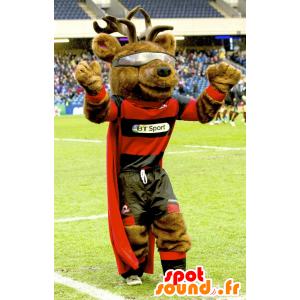 Mascotte Moose, caribù, renna, con un mantello