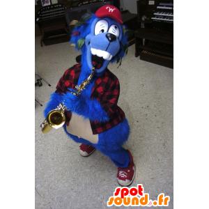Blue Dog Mascot louco com uma camisa xadrez - MASFR22287 - Mascotes cão