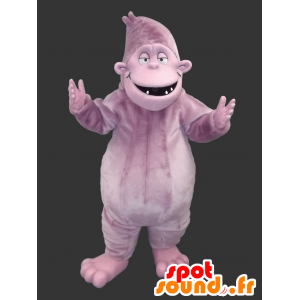 Mascotte de gorille mauve, de yéti coloré