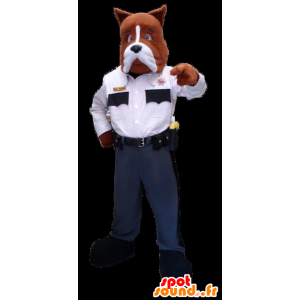 Brown and white dog mascot in police uniform - MASFR22295 - Dog mascots
