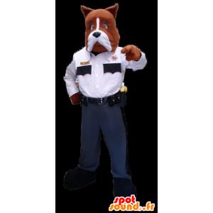 Brun og hvid hundemaskot i politiuniform - Spotsound maskot