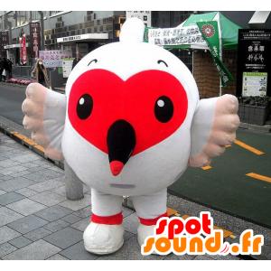 Hurtownia Mascot biały ptak z pięknym czerwonym sercem - MASFR22296 - ptaki Mascot