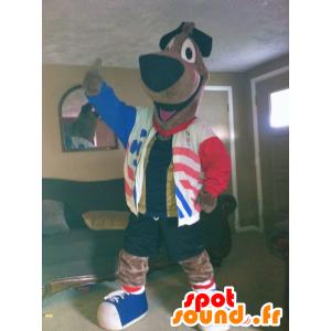 Mascotte großen braunen Hund mit einer blauen Jacke, weiß, rot - MASFR22302 - Hund-Maskottchen