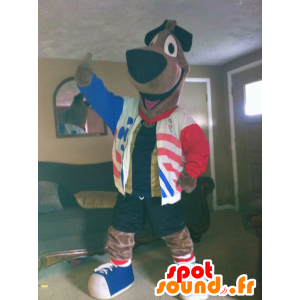 Mascotte large brown dog with a blue jacket, white, red - MASFR22302 - Dog mascots