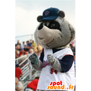 Mascot gray and black raccoon in sportswear