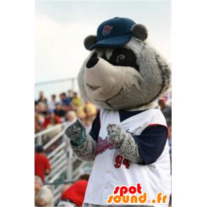 Mascotte de raton laveur gris et noir, en tenue de sport