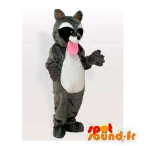 Mascotte tricolore Raccoon con una grande lingua rosa