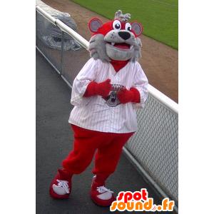 Mascot bjørn, grå og rød hund - MASFR22315 - bjørn Mascot