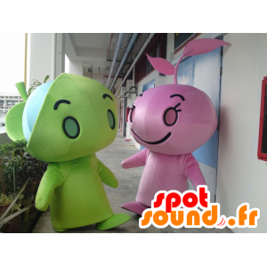 2 mascots of green and pink chaps, giant - MASFR22316 - Human mascots