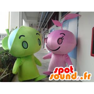2 Maskottchen der grünen und rosa Chaps, Riesen - MASFR22316 - Menschliche Maskottchen