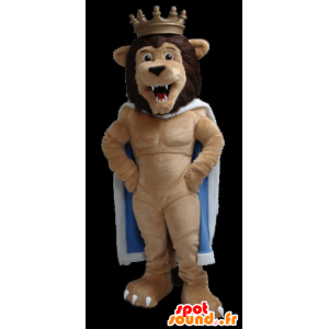 Lion King mascot with a cape and a crown - MASFR22318 - Lion mascots