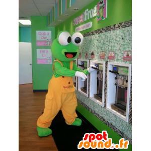 Grüner Frosch-Maskottchen, orange Overalls - MASFR22324 - Maskottchen-Frosch