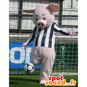 Pink pig mascot with a black and white jersey