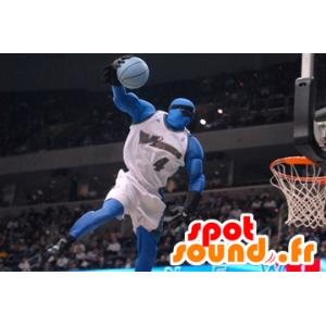 Blau Mascot Mann Basketball - MASFR22327 - Menschliche Maskottchen