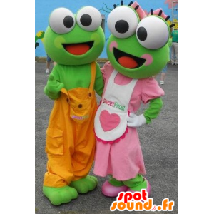2 mascots green frogs in colorful outfit - MASFR22333 - Mascots frog