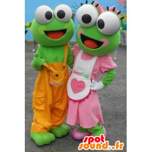 2 Maskottchen grüne Frösche in der bunten Ausstattung - MASFR22333 - Maskottchen-Frosch