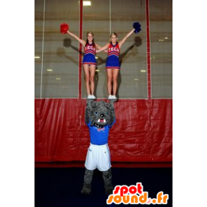 Mascotte grijze buldog, hond, in sportkleding - MASFR22343 - Dog Mascottes