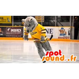 Mascotte d'ours gris, avec un maillot jaune - MASFR22346 - Mascotte d'ours
