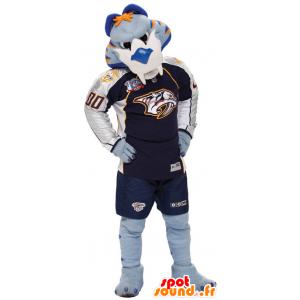 Tiger mascot blue, white and orange in sportswear - MASFR22351 - Tiger mascots