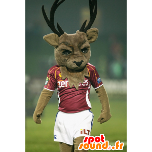 Brown deer mascot, with large wood in sportswear - MASFR22363 - Mascots stag and DOE