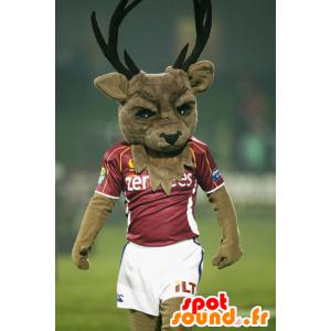 Brown Deer Maskottchen, mit großen Holz in der Sportkleidung - MASFR22363 - Maskottchen Hirsch und DOE