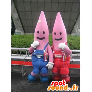 2 roze mascottes, gekleed in overalls zeester - MASFR22366 - Niet-ingedeelde Mascottes