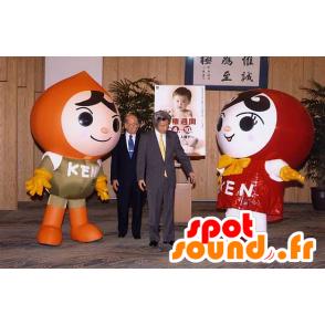 2 mascots girl and boy of Russian dolls - MASFR22370 - Mascots child