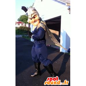 Mascota super héroe, un caballero con un casco