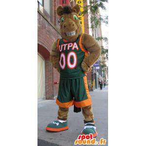 Mascotte de cheval marron, de chameau, en tenue de sport