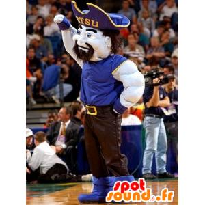 Mascot muskuløs mann, pirat blå og svart antrekk