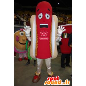 Hot dog giant mascot, red and beige - MASFR22385 - Fast food mascots