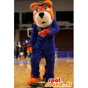 Orange und weiße Tiger-Maskottchen in blauen Outfit - MASFR22391 - Tiger Maskottchen